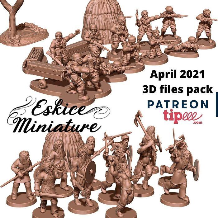 April 2021 3D files pack by Eskice Miniature